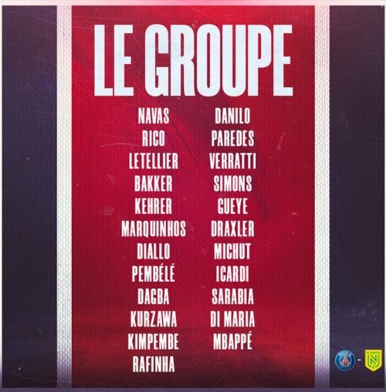 巴黎vs南特大名单:内马尔和小基恩缺席 姆巴佩和天使领衔锋线